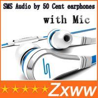 micrófonos rojos al por mayor-Venta al por mayor Mini SMS de audio por 50 céntimos en la oreja los auriculares con micrófono Mic 50Cent Street auriculares negro blanco rojo con caja envío gratis