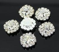 15 mm yuvarlak düğmeler toptan satış-100 adet 15mm Yuvarlak Rhinestone Bezemeler Düğmeler Düz Geri Temizle Kristal Küme Toka Düğün Dekorasyon