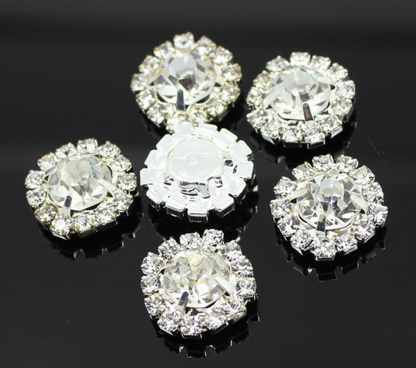 best selling 100pcs 15mm Round Rhinestone Embellishments Buttons Flat Back Clear Crystal Cluster Buckle Wedding Decoration
