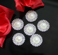 Wholesale flat back rhinestones hair resale online - 100pcs mm Double Row Round Pearl Rhinestone Button Flat back Wedding Hair Embellishment Decoration Buckles