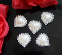 Wholesale Heart Pearl Flatback - 100pcs 22x21mm Heart Rhinestone Pearl Buttons Flatback Wedding Hair Decor Embellishments Decoration