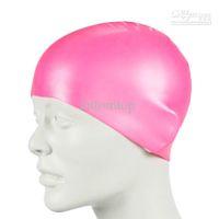 Wholesale Silicone Swim Caps Wholesale - Wholesale - Durable Stylish Sporty Latex Swimming hat flexibility sport Swim Cap Bathing Hat 3 Colors H8330