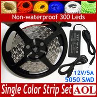 éclairage à cordes plates led blanc achat en gros de-Bandes LED SMD 5050 flexibles 60LED / M blanc / blanc chaud / rouge / bleu / vert / jaune Lumière LED plat non étanche à l'eau + alimentation 12V / 5A