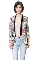 Wholesale Spring and autumn new European style hit color floral kimono print casual flower jacket