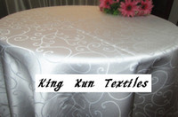 Wholesale White Table Cloth Round - Round White Color Polyester Jacquard Table Cloth For Wedding