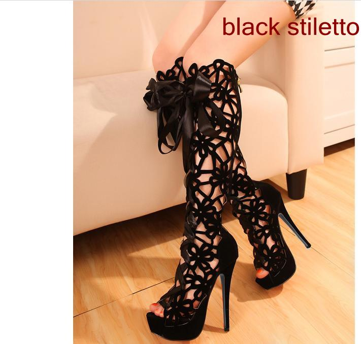 Sexy Gladiator Sandal Boots Super High Heel Hollow Out Red