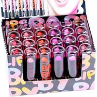 purple lipstick оптовых-Помады Высокое качество Фирменные пятна губ Бальзам Макияж 24PCS 6 Цвет Красный Розовый Фиолетовый Матовый Цветной Hengfang Губная помада Lip Stick H119