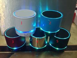 BeatBox speakers online shopping - Free DHL S08 Enhanced Super Bass Metal Mini Portable BeatBox Hi Fi Bluetooth Handfree Mic Stereo Speakers WITH LED Light Ring
