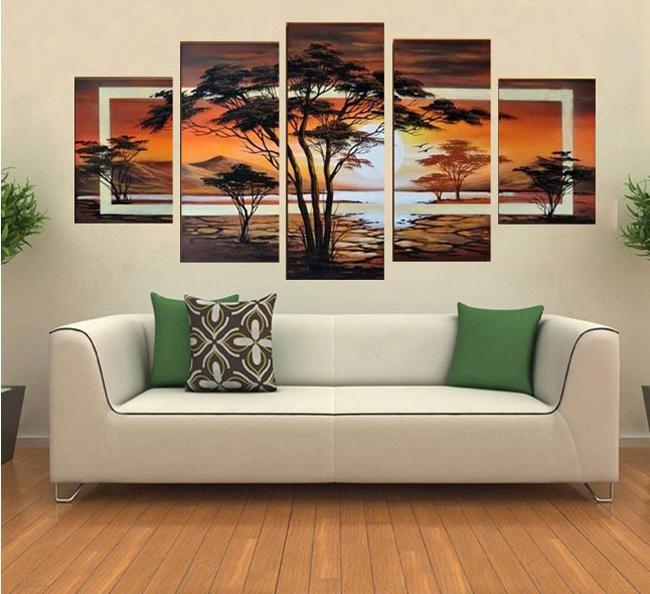 Free Shipping !! hand-painted oil The trees African sunrise Landscape oil painting on canvas wall art 5 piece /set ,FZ001