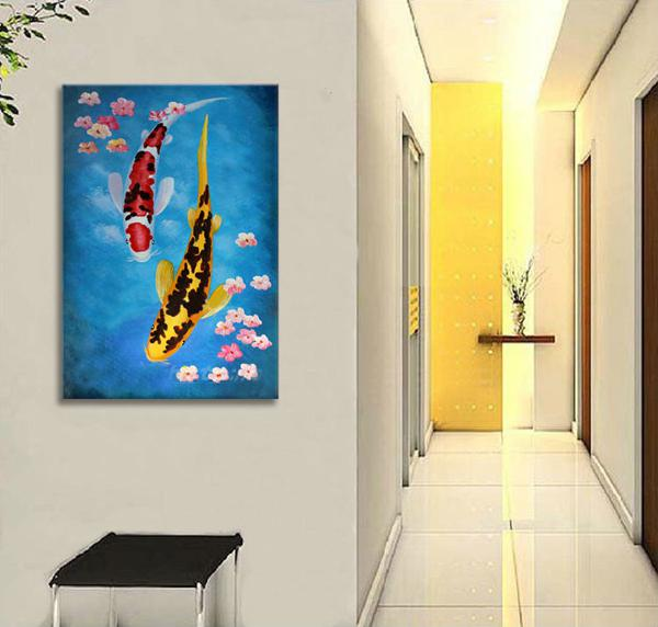 Modern Abstract handpainted Oil Painting Wall Art ,Top home Decorative ,feng shui fish Picture