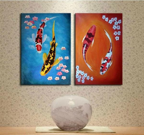 Free shipping, Modern Abstract handpainted Oil Painting 2 piece Wall Art ,Top home Decorative ,feng shui fish Picture