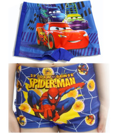 Wholesale Spiderman Trunks - Spiderman Kids Swimming trunks Cars Boys swim shorts Flash Children's Swimsuits Drop Shipping