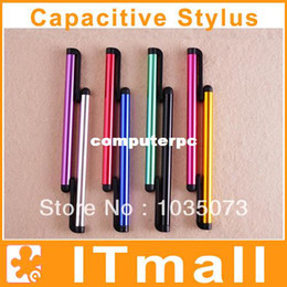 Wholesale Ipad Stylus Clip - 100pcs lot Mini Pens Capacitive screen stylus touch pen with clip for iphone 4 iphone 5 iPad mini iPad iPod touch for samsung