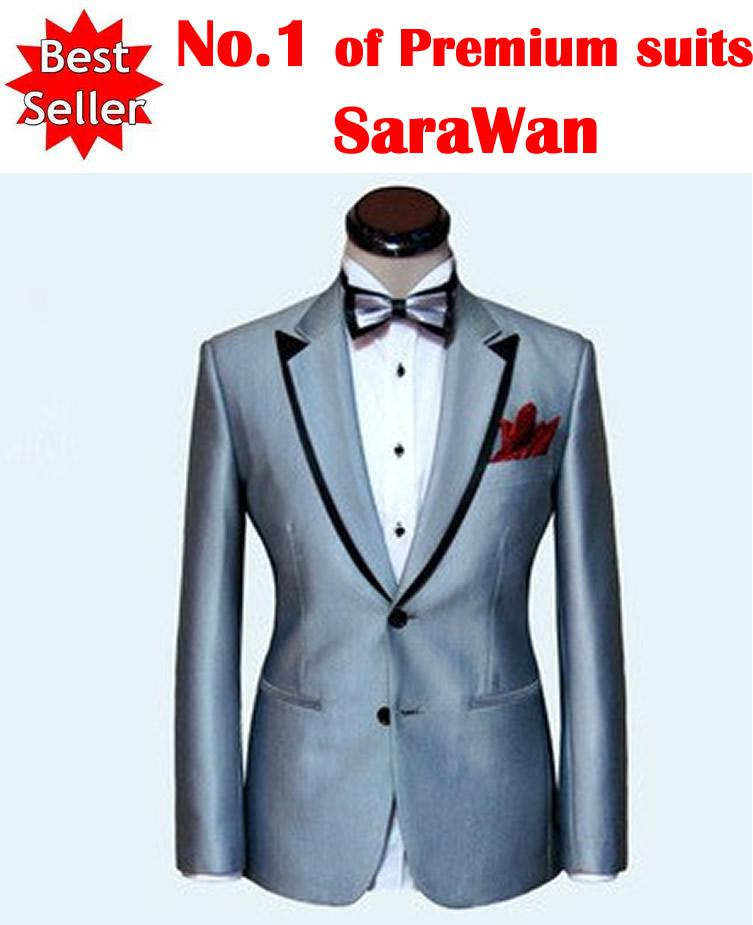 Custom Made Men Suit,Silver Mens Wedding Suit,Black Double Collar ...