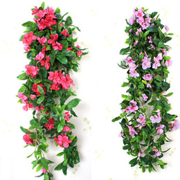 Flores azáleas on-line-Decorativa Cor Artificial Flor Wisteria Azaléia Rattan Flor De Seda Ivy Pendurado Vines Wedding Party Supplies 20 pçs / lote SH892 Promoção