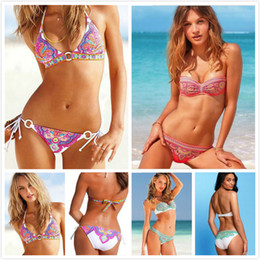 Wholesale 2014 Women s Push Up Bohemian Swimwear With Ethnic Floral Halter Straps Bathing Suit Colorful Spiral Swirls totem Swimwear