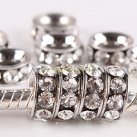 Wholesale large hole metal beads - 20 Pcs 10MM Clear Platinum plated Crystal Rhinestone Rondelle Spacers European Large Hole Beads Fit Charms Bracelets, Free shipping