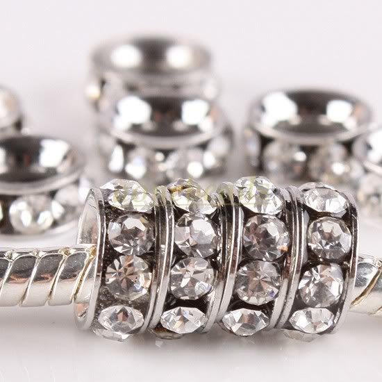 best selling 20 Pcs 10MM Clear Platinum plated Crystal Rhinestone Rondelle Spacers European Large Hole Beads Fit Charms Bracelets, Free shipping