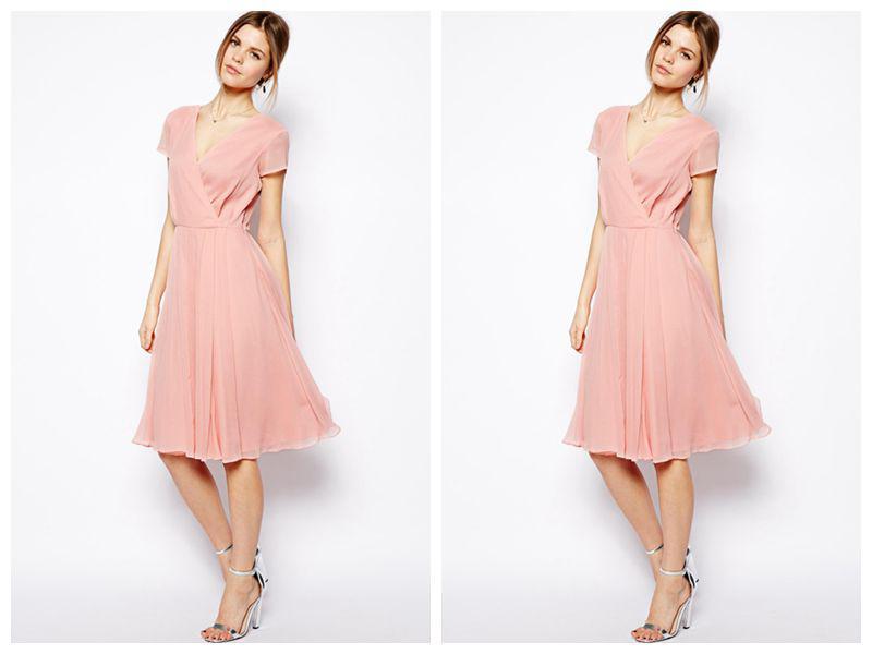 Unique Design Pink Color Short Sleeve V Neckline A Line
