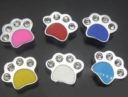 Wholesale Enamel Paw Charms - Wholesale 100pcs lot 8mm rhinestones Enamel paw slide charm , fit for diy wristband bracelet fashion jewelrys