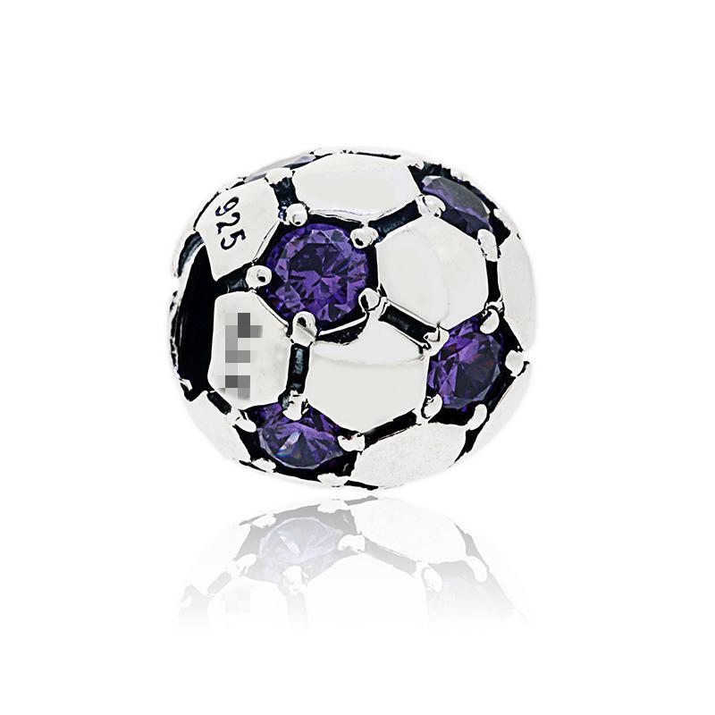 Autentisk 925 Sterling Silver Football Bead With Stone Eyes Passar European Pandora Smycken Charm Beads Armband