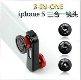 Wholesale Iphone5 Fish Eye - 3 In 1 Mobile Phone Lens for Iphone5 Only Fish Eye+Macro+Wide Angle Free Shipping 140430CJP