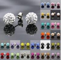 boucle d'oreille swarovski couleurs achat en gros de-Muti-couleurs Sparkle Round Swarovski Crystal Ball Dormeuses pour la noce 24 Paires / lot Livraison Gratuite