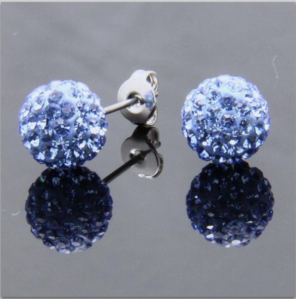 Los pendientes redondos del perno prisionero de la bola de cristal Swarovski de la chispa de los Muti-colores para el banquete de boda 24 pares / porción liberan el envío