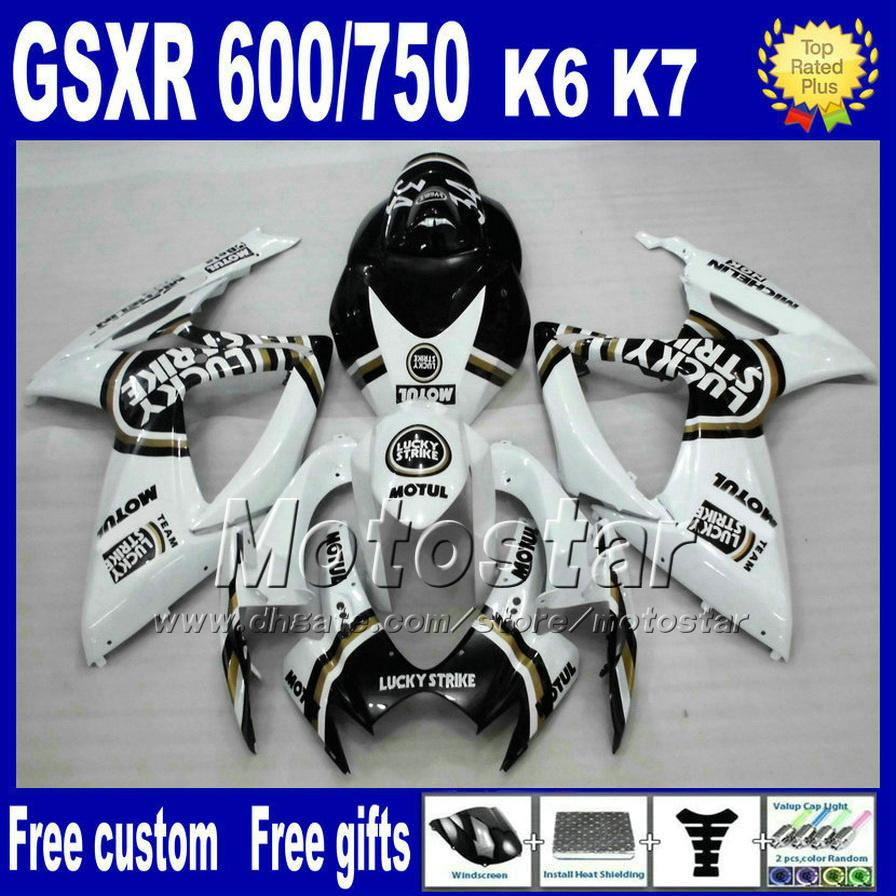 Injection fairing kit for SUZUKI K6 GSX-R 600/750 06 07 white black LUCKY STRIKE fairings set gsxr600 gsxr750 2006 2007 Nd29