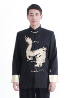Wholesale Men Chinese Cloth - Free Shipping 2015 chinese style long sleeve tang suit chinese traditional cloth chinese dragon print mandarin collar jacket M0032-A Black