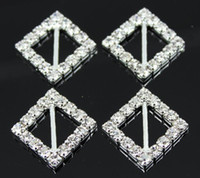 boucles de strass en gros achat en gros de-100pcs / lot 12mm Inner Bar Square Rhinestone Buckles pour Wedding Invitation Card Wedding Decoration Wholesale