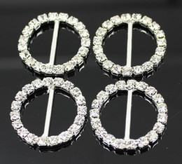 Wholesale Round Rhinestone Invitation Buckles - Factory Price 100pcs DIA 21mm 16mm Bar Clear Round Rhinestone Buckles For Wedding Invitation Diamante Ribbon Sliders