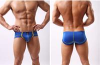 Wholesale Translucent Briefs - U convex men's low waist sexy translucent icy briefs men's ice silk briefs