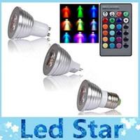Wholesale remote control spotlight 12v - E27 E14 B22 GU10 MR16 RGB Led Bulbs Light AC 85-265V 3W Colorful Changing Led Lamps For Xmas Lighting + 24 IR Remote Control