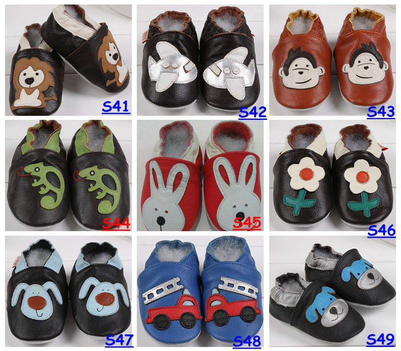 Fedex EMS DHL Baby Infant Toddler Animal Soft Sole Leather Shoes 100% Cow Leather Baby First Walker Shoes para 0-2T, elige color Tamaño Gratis