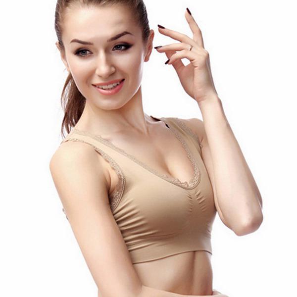 مثير الرياضة الدانتيل تصميم سيدة منصات سلس حمالات الصدر الملونة قمم ثنائية المشكل الجسم المشكل رفع البرازيلي الثدي Ahh