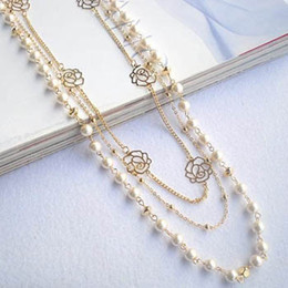 Wholesale white pearl long necklace - HOT sale cross multilayer beaded pearl rose flower long sweater chain necklaces strands strings Christmas gift frees shipping