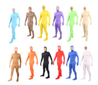 Wholesale Pink Unitard - A variety of colors Unitard Lycra Spandex Zentai Body Suit Open Face Out S-XXL