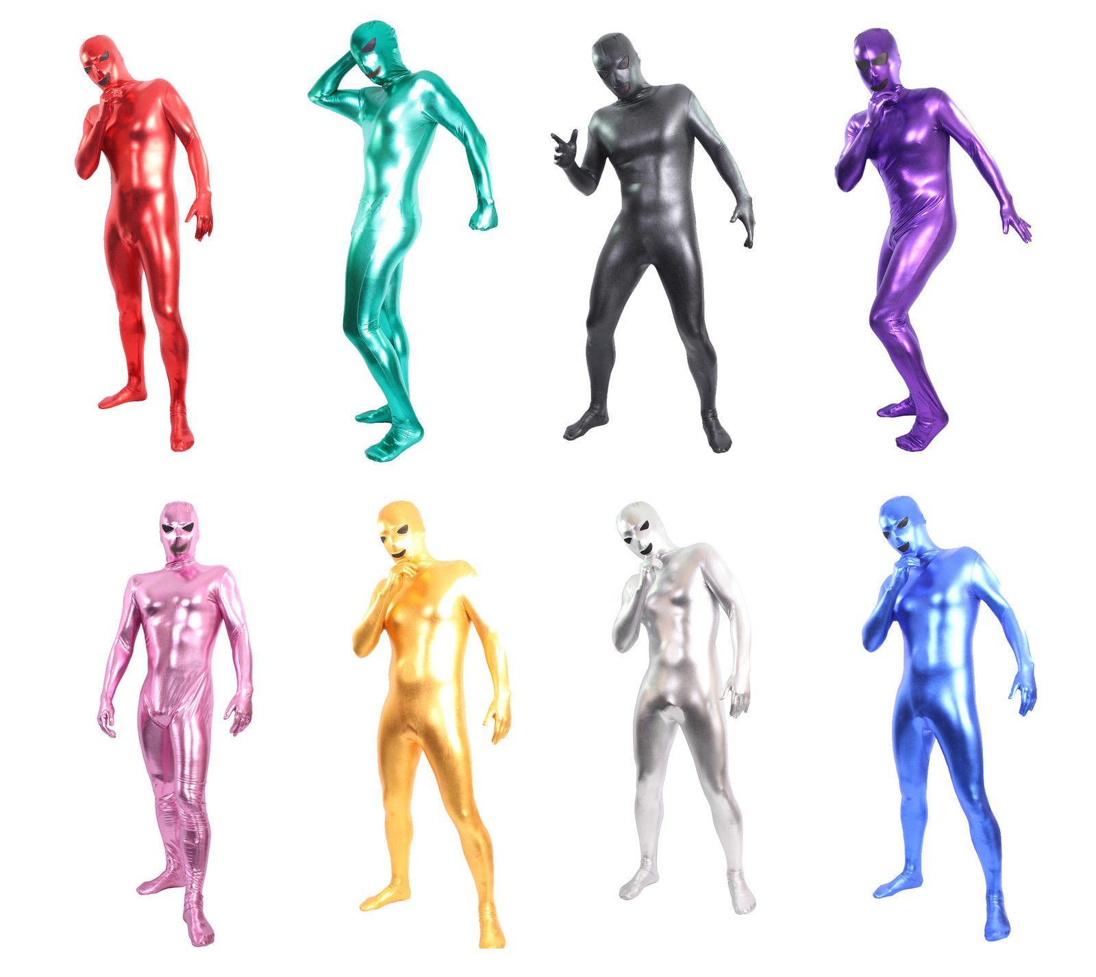 Zentai Tam Vücut Suit Alien Gözler Ağız Parlak Likra Fantezi Elbise Bodysuit