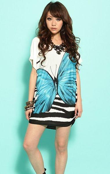 plus size butterfly Bohemian dress large size women Korean ice silk loose short-sleeved summer butterfly pattern lsummer beach mini dresses