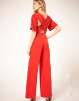 Wholesale Black Jumpsuit Boot Cut - Red full length jumpsuits women batik sexy hollow out backless cross 2015 womens fall fashion boot cut polyester rompers