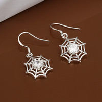 Wholesale Cobweb Earrings - High quality 925 silver plated zircon earrings classic fashion party jewelry cobwebs for women free shipping