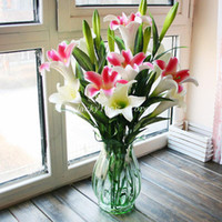 Wholesale beautiful lily - (4 pcs Lot) Beautiful Natural Touch Latex Flowers Artificial Lily Flower Home Decoration 3 Colors Available