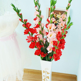 Wholesale Flower Gladiolus - 60 Pcs Artificial Fabric Gladiolus Fresh Beautiful Silk Flowers 43.3 Inch Height Home Wedding Decorations
