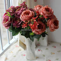 Wholesale Single Stem Silk Roses - Beautiful (13 Forks Bunch) Single Super Large Rose Peony Stem Bouquet Artificial Branches Silk Flowers Home Wedding Decorations