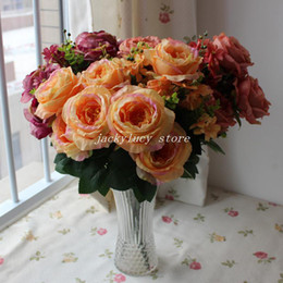 Wholesale silk rose flower bunches wholesale - 3 PCS lot (13 Branches Bunch) Vintage Oil Painting Large Rose Peony Tree Artificial Silk Flowers Home Table Room Decorations