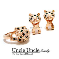 Wholesale Wedding Leopard Earrings - Brand Design Rose Gold Plated Austrian Rhinestones Classic Leopard Spotted Luxury Lady Jewelry Set Earrings Ring
