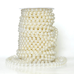 Chinese  Stock! 20meters 8MM Beige Pearl Beads Garland Wedding Centerpiece Flower Table Decoration Chandelier Crafting DIY Accessory manufacturers
