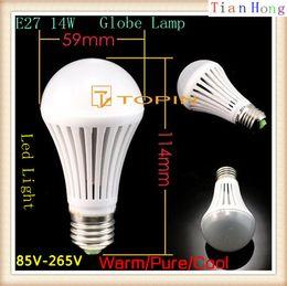 Bubble Ball Bulb Lamp NZ - White body High Power E27 14W Globe Lamp Led Bubble Ball Bulb 85V-265V Bubble Ball Bulb Warm Pure Cool White