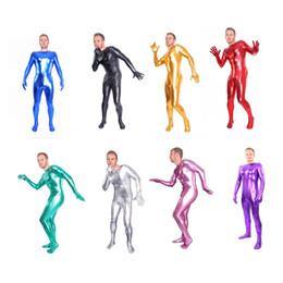 Wholesale Fancy Bodysuits - Unisex Metallic Lycra Spandex Zentai Body Suit Headless Fancy Dress Catsuit Bodysuits